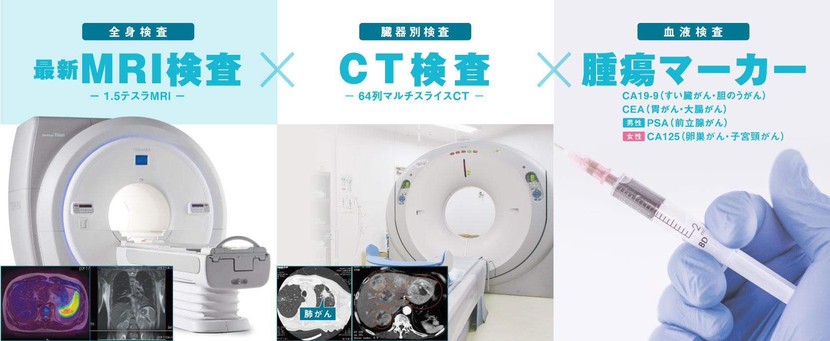 全身MRI検査☓CT検査☓腫瘍マーカー